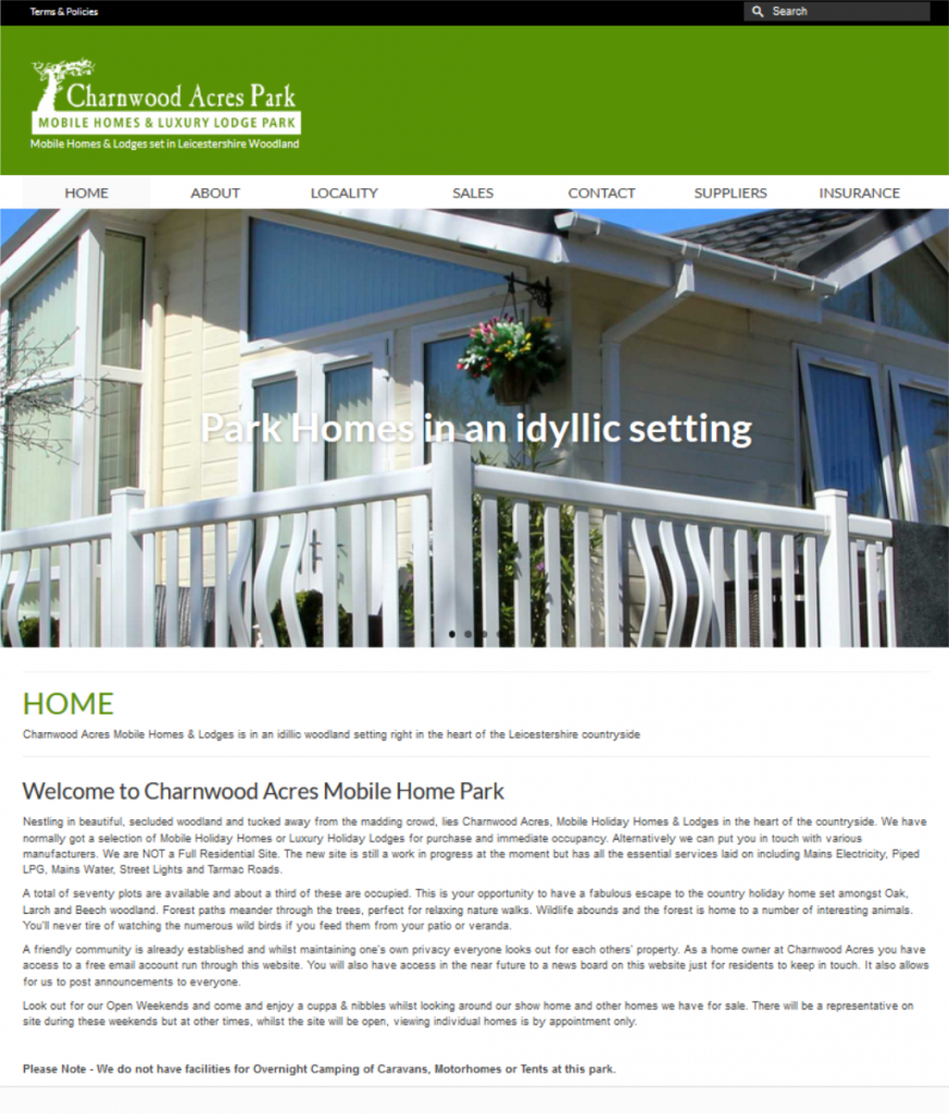 Charnwood Acres Holiday Home Park in Leicestershire