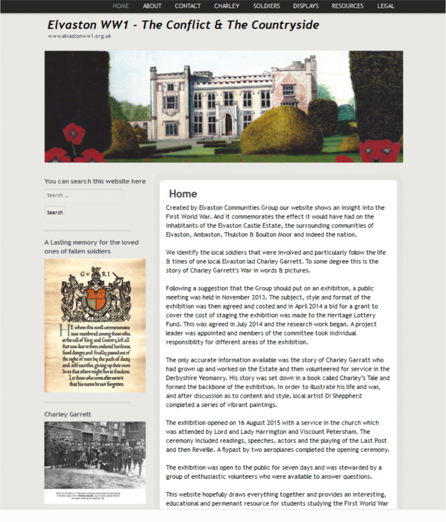 Elvaston WW1 Commemorative website by FRUU.co.uk shows the impact the First World War had on the community of Elvaston Castle Estate and the surrounding villages