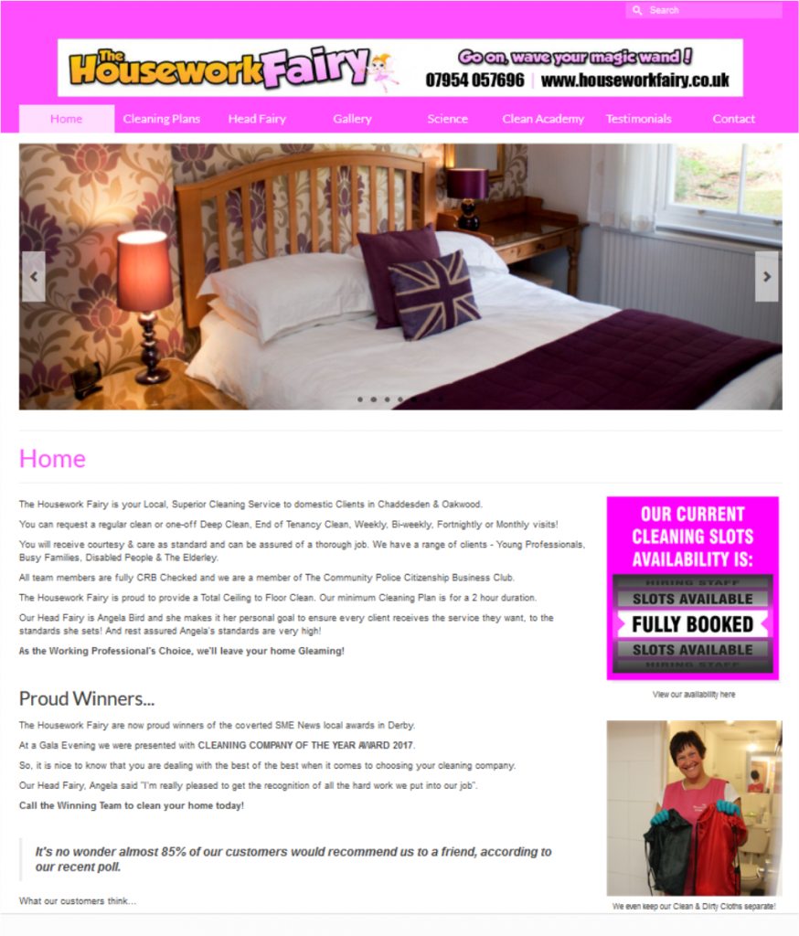 The Housework Fairy based in Derby - Website by FRUU.co.uk