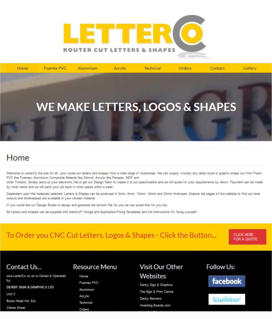 Dedicated website for the CNC Router division of a local Signmaker in Derby Website by FRUU.co.uk
